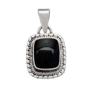 Kele & Co. Sterling Silver Small Black Onyx Pendant