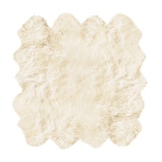Natural by Lifestyle Brands Octo New Zealand Sheepskin Rug 6 1/2' X 6'