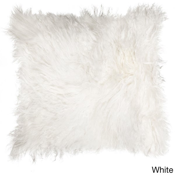 Natural by Lifestyle Brands Mongolian White Sheepskin Pillow