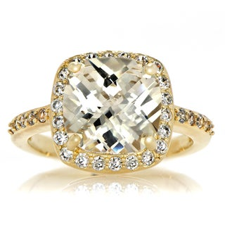Emitations 14k Goldplated Canary Yellow Cushion-cut Cubic Zirconia Ring
