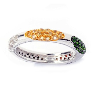 Sterling Silver Multi-gemstones Cluster Eternity Ring