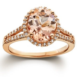 Bliss 14k Rose Gold 1/2ct TDW Diamond and Morganite Halo Ring (H-I, I1-I2)