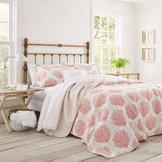Laura Ashley Coral Coast Coral Reversible Cotton 3-piece Quilt Set