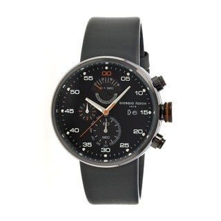 Giorgio Fedon 1919 Men's Speed Timer Iv Black Leather Charcoal Analog Watch