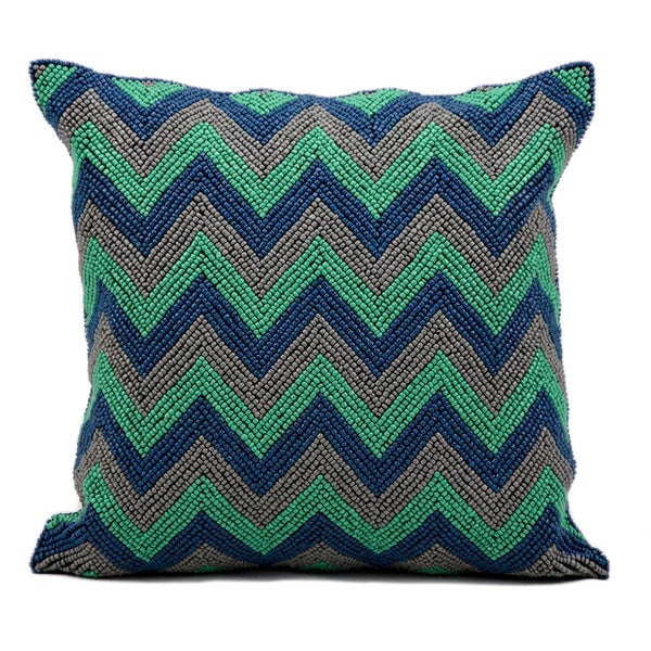 kathy ireland Beaded Chevron Blue/Grey Throw Pillow (16-inch x 16-inch) by Nourison 13587592