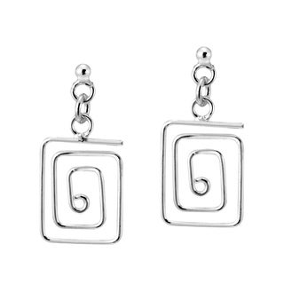 Meander Greek Key 925 Sterling Silver Post Drop Earrings (Thailand)
