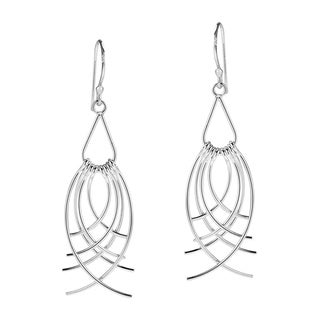 Feather Cascades Curved Strips .925 Silver Dangle Earrings (Thailand)