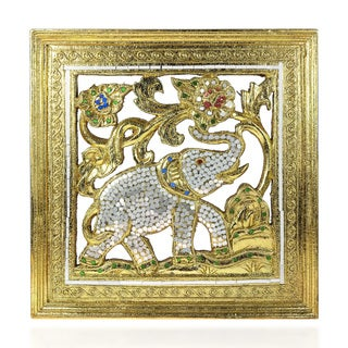 Elephant Gilded 24k Gold Leaf Mirror Carved Wood Frame (Thailand)