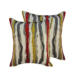 Sherry Kline Waves Yellow Red 20-inch Throw Pillows (Set of 2)