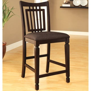 Furniture of America Esme Traditional Espresso Counter Height Dining Chair (Set of 2)