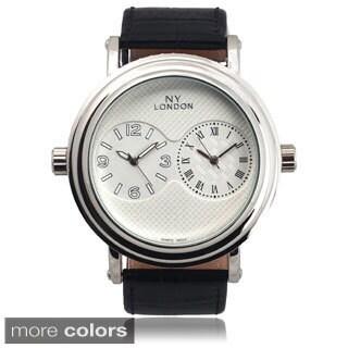 Geneva Platinum Men's Faux Leather Dual Time Zone Watch