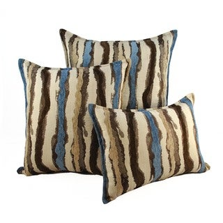Sherry Kline Waves Blue Brown Combo Throw Pillows (Set of 3)