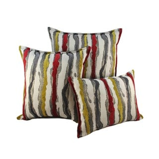 Sherry Kline Waves Yellow Red Combo Decorative Pillows (Set of 3)