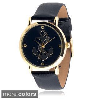 Geneva Platinum Women's Faux Leather Anchor Watch
