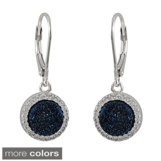 Sterling Silver Druzy Quartz and Cubic Zirconia Dangle Lever-back Earrings
