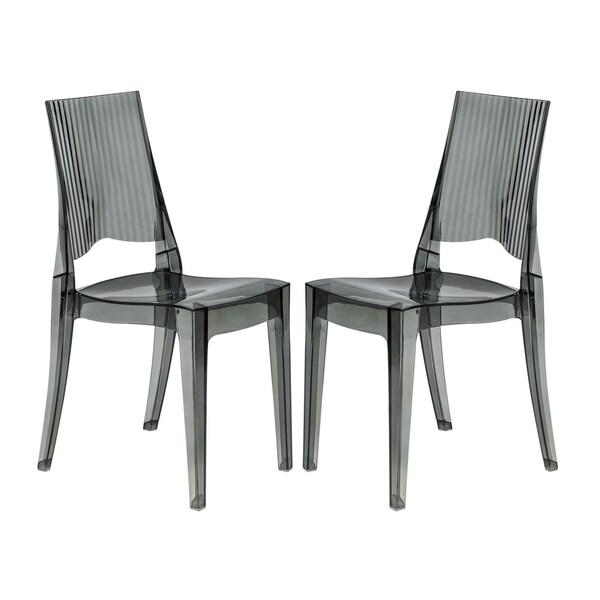 Somette Coral Transparent Black Modern Dining Chair (Set of 2)