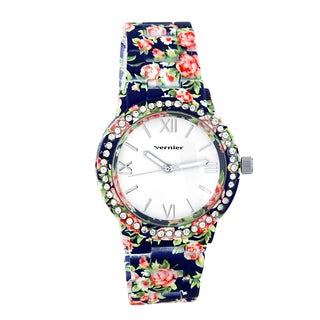 Vernier Women's Soft Touch All Over Floral Pattern Stone Bezel Watch