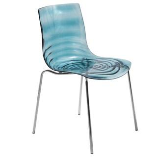 LeisureMod Astor Blue Plastic Chrome Base Dining Side Chair