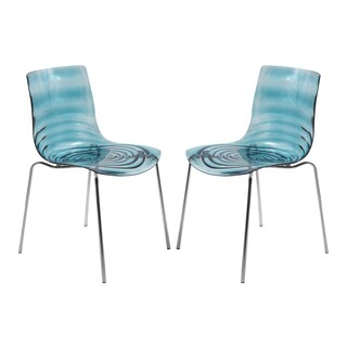 Somette Astor Polycarbonate Modern Transparent Blue Dining Chair (Set of 2)