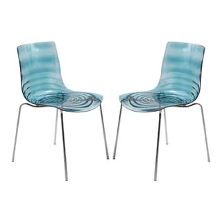 LeisureMod Astor Blue Plastic Chrome Base Dining Side Chair Set of 2