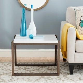 Safavieh Bartholomew White/ Dark Brown Lacquer End Table