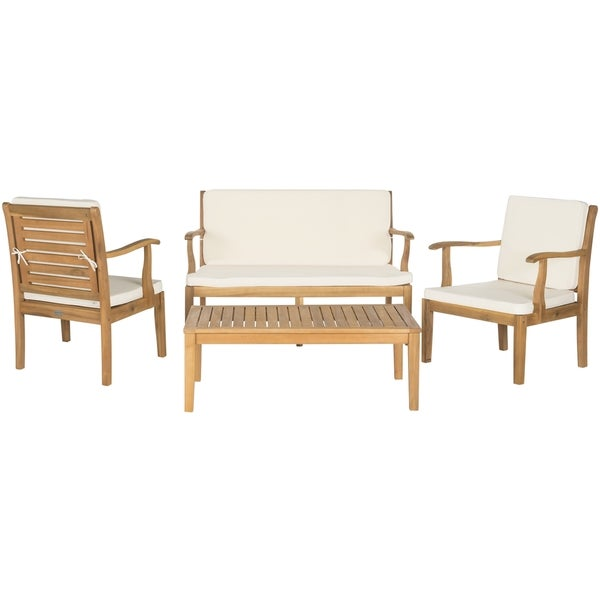 Safavieh Outdoor Living Fresno Brown Acacia Wood 4 piece Beige Cushion Patio Set