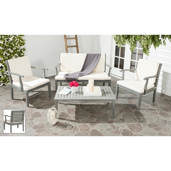 Safavieh Outdoor Living Fresno Ash Grey Acacia Wood 4 piece Beige Cushion Pat