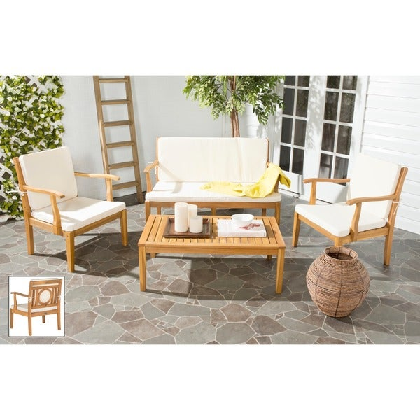 outdoor living montclair brown acacia wood 4 piece beige cushion patio