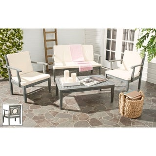 Safavieh Outdoor Living Montclair Ash Grey Acacia Wood 4-piece Beige Cushion Patio Set