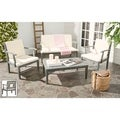 Safavieh Outdoor Living Montclair Ash Grey Acacia Wood 4-piece Beige Cushion Patio Set