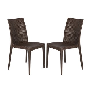 Mace Modern Weave Design Coffee Brown Indoor/ Outdoor Dining Chair (Set of 2)