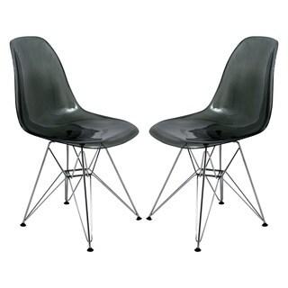 Cresco Molded Eiffel Side Chair in Glossy Black (Set of 2)