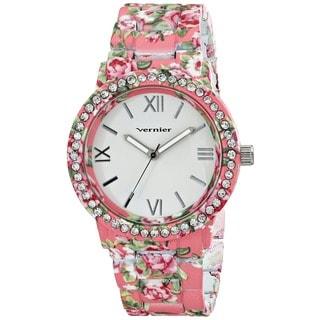 Vernier Women's All Over Floral Pattern Stone Bezel Watch