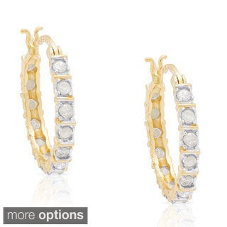 Finesque Sterling Silver 1/3ct TDW Diamond Hoop Earrings (I-J, I2-I3)