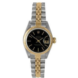 Pre-Owned Rolex Women's Two-tone Datejust Black Dial Bracelet Watch