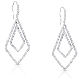 Finesque Sterling Silver Diamond Accent Dangle Earrings