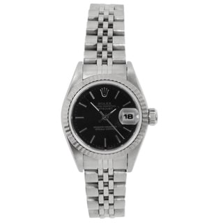 Pre-Owned Rolex Women's Stainless Steel Datejust Black Dial