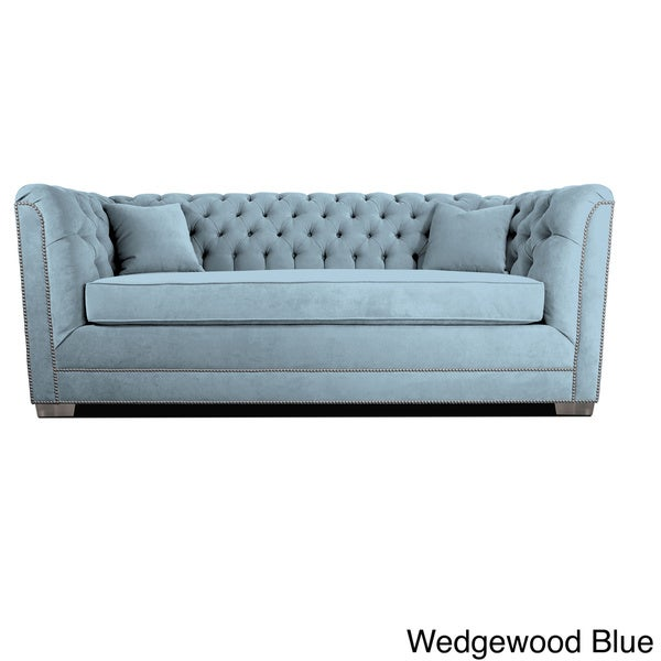Decenni Custom Furniture Buckingham Wedgewood Velvet Tufted Sofa