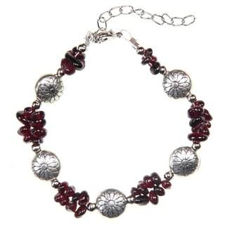 Tibetan Silver Garnet Beaded Bracelet (China)