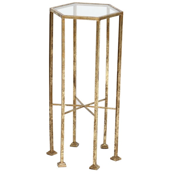 Gold Leaf Mirror Top Decorative Accent Table
