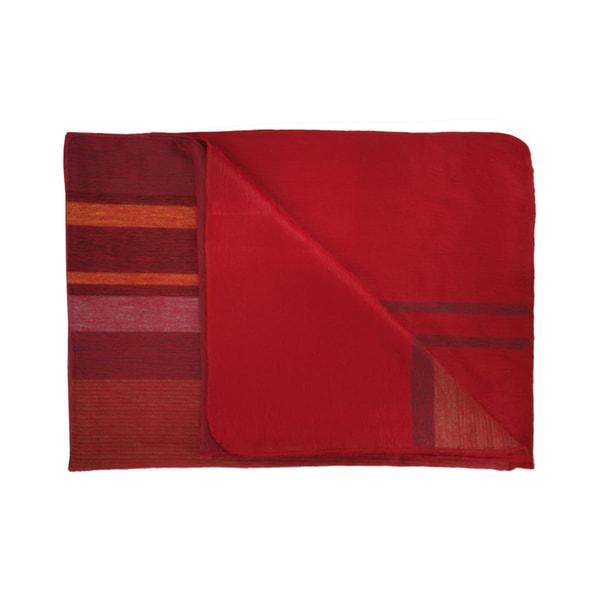 Woven Razzle Red Multi-stripe Alpaca Throw Blanket (Ecuador)
