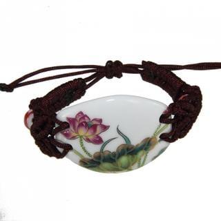 Handmade Porcelain Lotus Flower Bracelet (China)