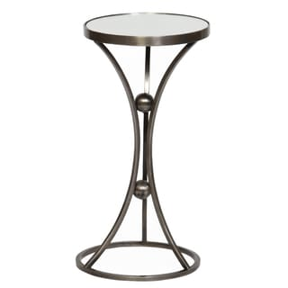 Pewter-colored 3-leg Mirror-top Accent Table