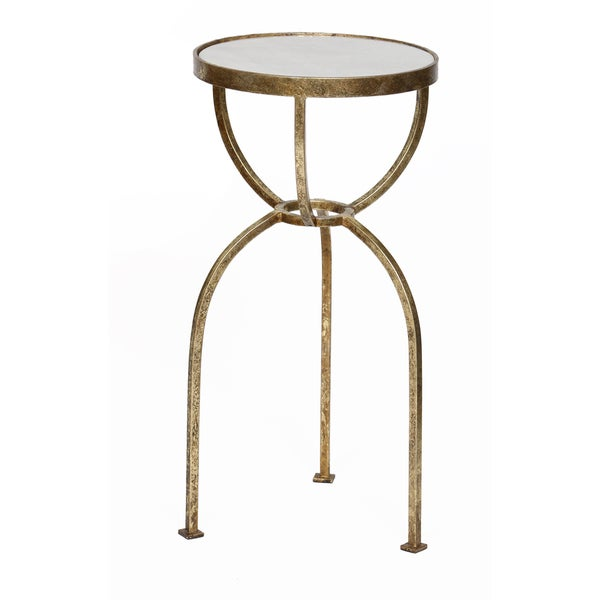 Gold Leaf Granite Top Round Accent Table