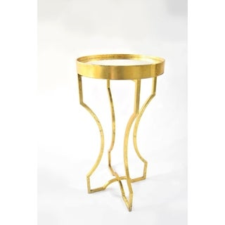 Four-leg Gold Leaf Antiqued Mirror-top Accent Table