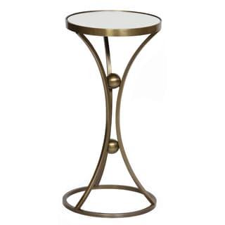 Antique Brass Round Mirror Top Accent Table