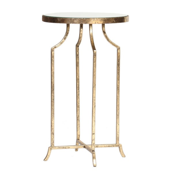Top Round Metal Accent Table Gold Leaf Mirrored Top Round Metal Accent