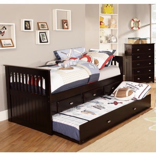 Twin Rake Bed with 3 Drawers