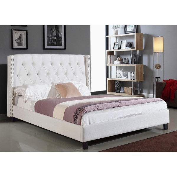 ABBYSON LIVING Madison Ivory Linen Nailhead Trim Wingback Bed
