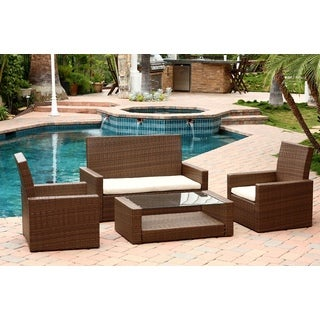 Abbyson Living Palermo Outdoor Brown Wicker 4-piece Sofa Set